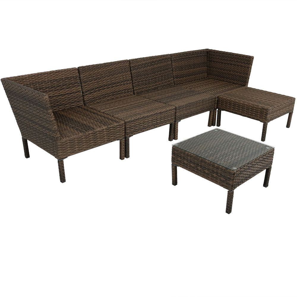 ... Sunnydaze Belgrano Wicker Rattan 6 Piece Sofa Sectional   No Cushions  ...