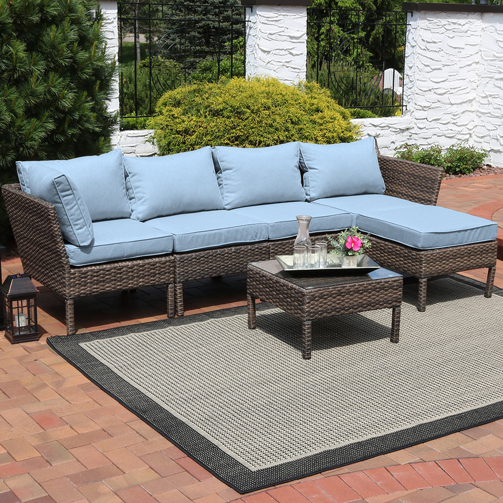 Sunnydaze Belgrano Wicker Rattan 6 Piece Sofa Sectional Patio Furniture Set  With Steel Blue Cushions