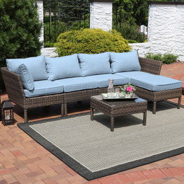 Sunnydaze Belgrano Wicker Rattan 6-Piece Sofa Sectional Patio Furniture Set with Steel Blue Cushions