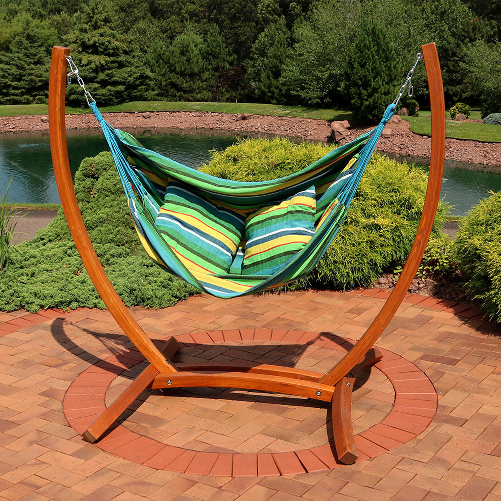 Sunnydaze Hanging Hammock Chair Swing With Sturdy Space Saving Wooden Stand  For Indoor Or Outdoor