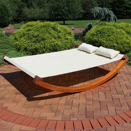 Sunnydaze Natural Colored Outdoor 2 Person Wooden Rocking Lounger Bed, Perfect for Patio or Poolside