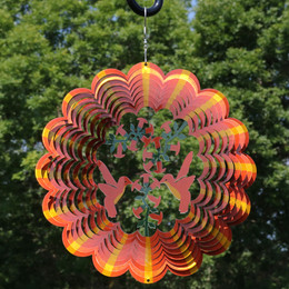 Sunnydaze Orange Hummingbird Wind Spinner with Hook, 12-Inch