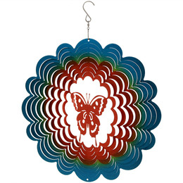 "Sunnydaze 12"" Reflective 3D Whirligig Butterfly Wind Spinner with Hook"