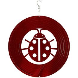 "Sunnydaze 12"" Reflective 3D Whirligig Ladybug Wind Spinner with Hook"