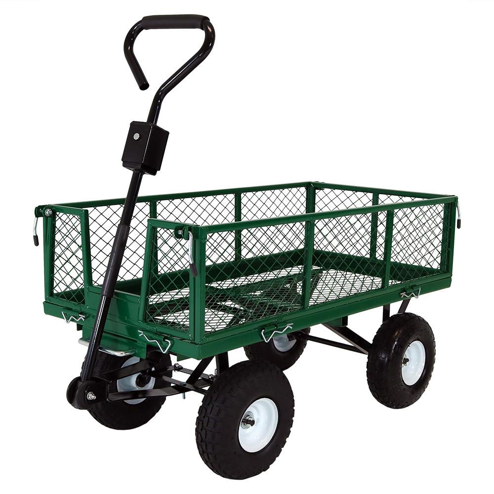 Sunnydaze Heavy-Duty Steel Dump Utility Garden Cart