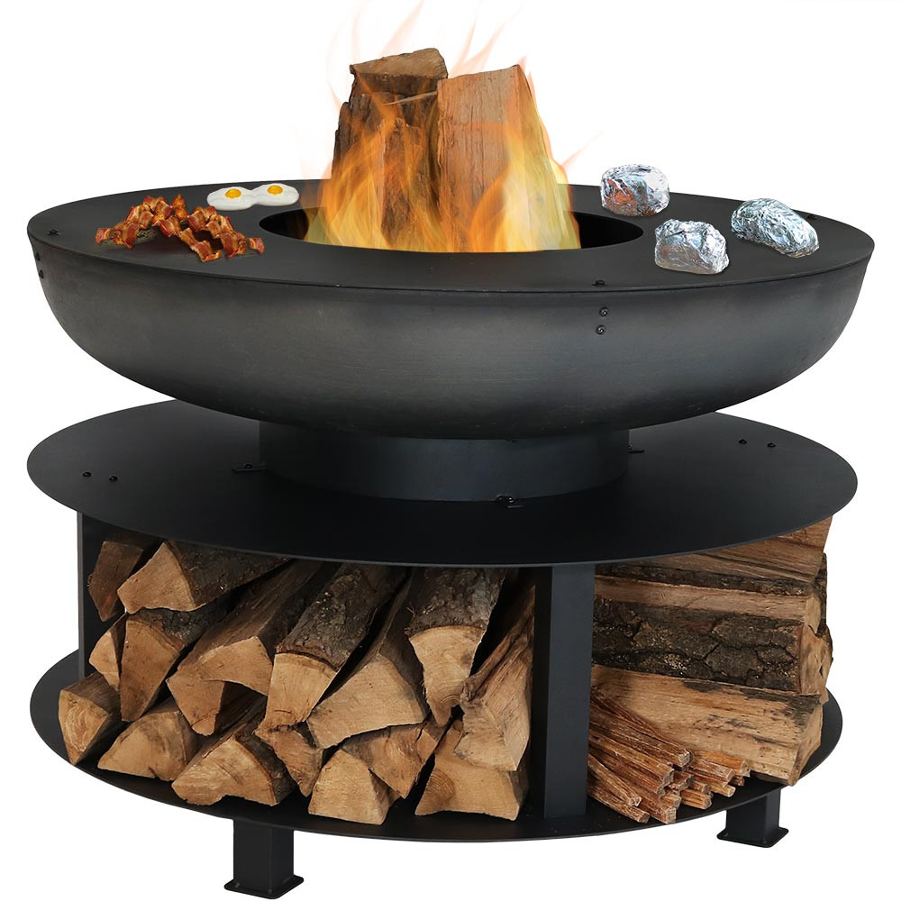 Sunnydaze 40 Inch Fire Pit With Cooking Ledge And Wood Storage