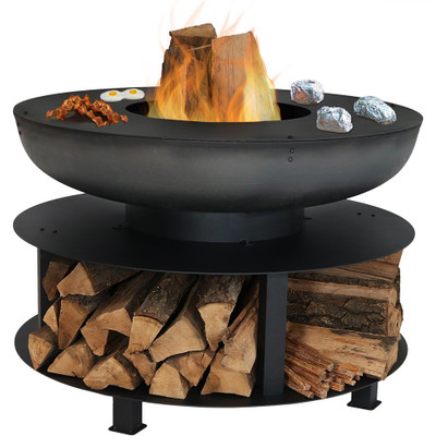 Sunnydaze 40-Inch Fire Pit with Cooking Ledge and Wood Storage