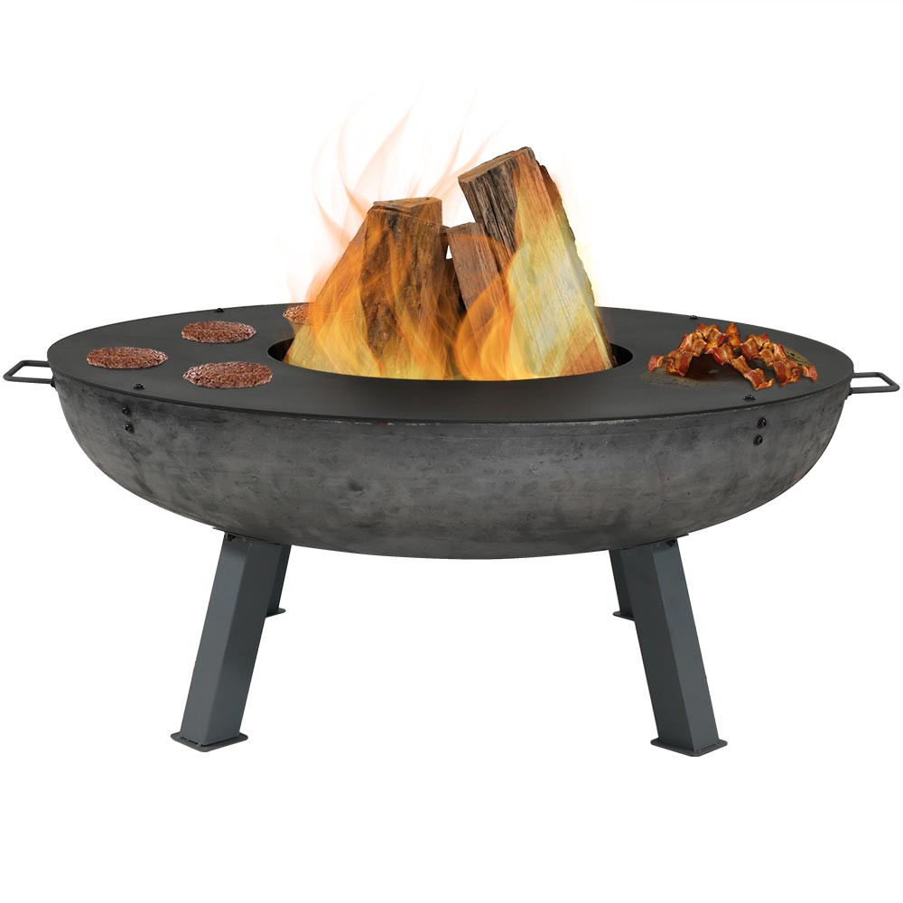 Sunnydaze 40 Inch Cast Iron Fire Pit With Cooking Ledge