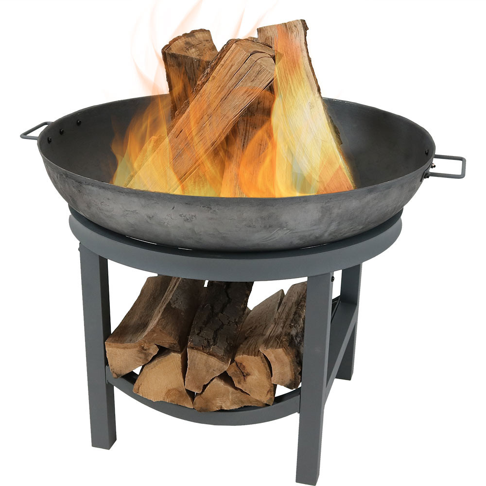 Sunnydaze 30 Inch Cast Iron Fire Pit With Built In Log Rack