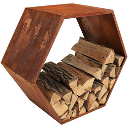 Sunnydaze 30-Inch Hexagon Rustic Cast Iron Honeycomb Firewood Log Rack