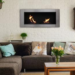 Sunnydaze Scalda Ventless Wall Mounted Bio Ethanol Fireplace, 43 Inch