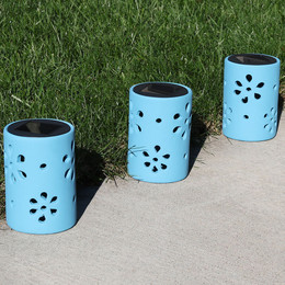 Sunnydaze Blue Ceramic Jar Style Solar Light with Flower Cutouts and White LED Bulbs, Set of 3