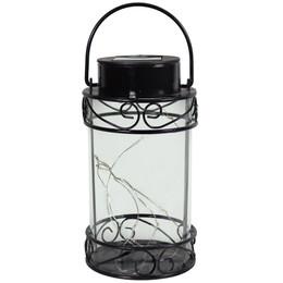 Sunnydaze 9-Inch Outdoor Scroll Design Solar Lantern with Warm White 10-LED Light String