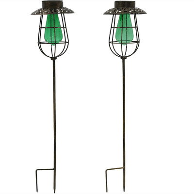 Vintage Outdoor String Lights Solar : Sunnydaze Outdoor Caged Solar Stake Light with LED String Lights and Glass Vintage Style Bulb