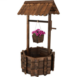 Sunnydaze Wood Wishing Well Outdoor Garden Planter, 45-Inch Tall