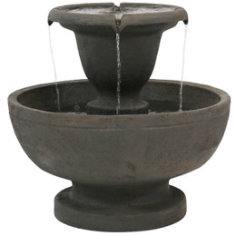 Sunnydaze Streaming Falls 2-Tier Outdoor Fountain, 25-Inch Tall
