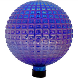 Sunnydaze Purple Textured Squares Gazing Globe Ball, 10-Inch