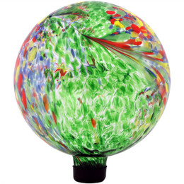Sunnydaze Green Artistic Glass Gazing Ball Globe, 10-Inch