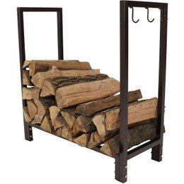 Sunnydaze 30 Inch Bronze Steel Indoor/Outdoor Firewood Log Rack