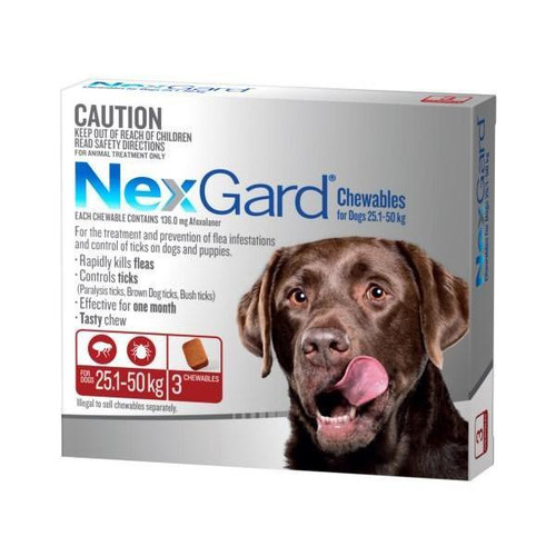 NexGard for Dogs 25.1-50kg - Red 3 Pack