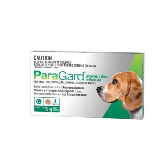 Paragard Allwormer For Dogs 10kg 4 tablets