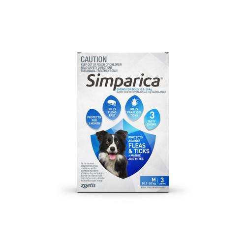 Simparica For Medium Dogs  10.1-20kg - 3 Chews