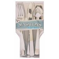 FORK SPOON KNIFE 24 CT METALIC SIVER