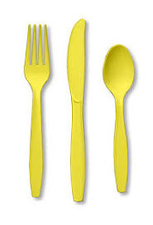 FORK SPOON KNIFEx24 YELLOW MIMOSA
