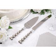 CAKE KNIFE/SERVER SET HEART METAL