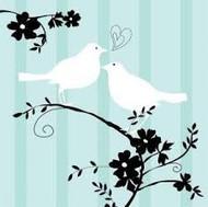 BEV NAPKINS TWO LOVE BIRDS