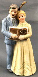 ORNAMENT 40TH COUPLE BISQUE