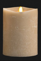 "PILLAR CANDLE LED OATMEAL 4"" X 5"""