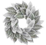 """WREATH MAGNOLIA LEAF SNOWED 24"""""""