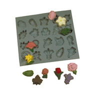 RUBBER CANDY MOLD FLOWERS AND LEAVES ASSORTMENT