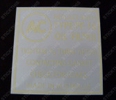 Oil Filter Decal - AC PF-10 (253,308)