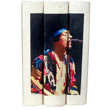 example of our hand bound books with image cascaded across the spine.  These are bound with your image.  Not a paper dust jacket.