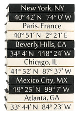 Custom coordinates cream text on black background -priced by set of 2