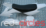 CRF50 STYLE PITBIKE PLASTICS SET - WHITE (WITH SEAT PAD)