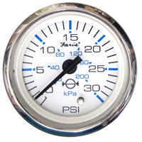 "Faria Chesapeake White SS 2"" Water Pressure Gauge Kit - 30 PSI"