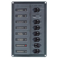 BEP AC Circuit Breaker Panel w\/o Meters, 6 Way w\/Double Pole Mains