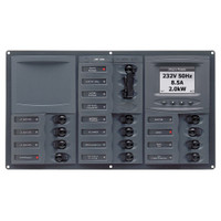 BEP AC Circuit Breaker Panel w\/Digital Meters, 12SP 2DP AC230V ACSM Stainless Steel Horizontal