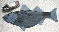 Fish Doormat Striped Bass Large Black with Gray trim