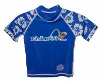 Fish Kid Rashguard Aloha Blue Lg