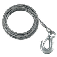 "Fulton 7\/32"" x 50' Galvanized Winch Cable and Hook - 5,600 lbs. Breaking Strength"
