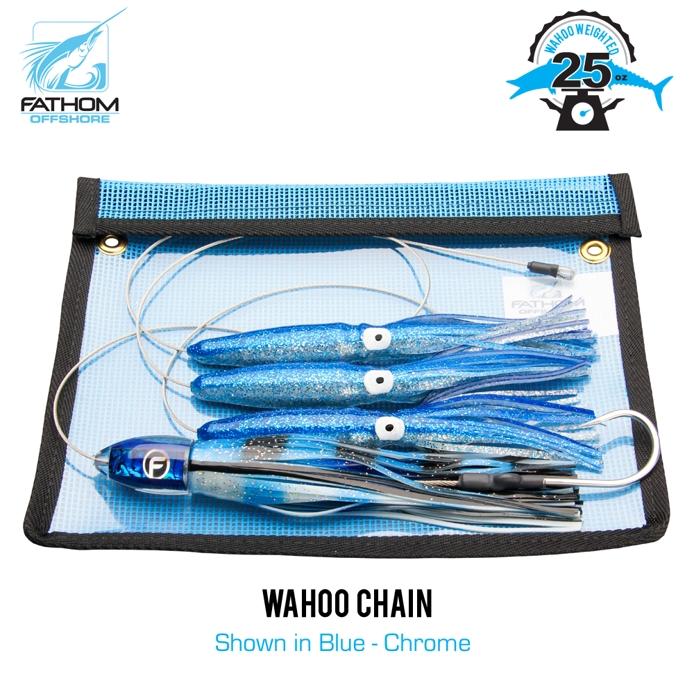 These weighted wahoo chains use well over a pound of lead discreetly hidden within the squids hollow body; eliminating the need for a trolling lead or shock leaders. Simply clip to the rod tip and throttle up. The squids are rigged on 480lbs cable leader with a 320lbs snap swivel inside the last squid. Attached via snap swivel is a pre-rigged Double O' Medium lure with a fully stainless 920lbs 9/0 hook set. Get yours today and start filling the cooler tomorrow.