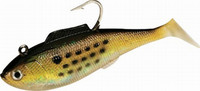 "Tsunami Holographic Heavy Swim Shad 5"" 2 pack Golden Bunker w/ Spots"