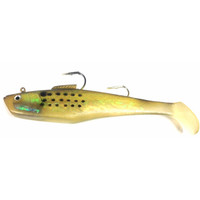 "Tsunami Holographic Dual Hook Swim Shad 9"" 1 pack Golden Bunker W/ Spots"