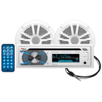 Boss Audio MCK508WB.6 Package w\/MR508UABW Receiver, 2 MR6W Speakers & MRANT10 Antenna