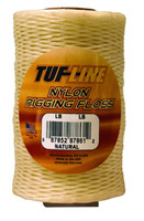 Tuf-Line Nylon Rigging Floss - Natural 30Lb 1/8Lb Pks 320yds Plastic Container w/Cutter ( NOS30W320)