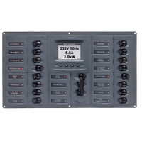 BEP AC Circuit Breaker Panel w\/Digital Meters, 16SP 2DP AC120V ACSM Stainless Steel Horizontal
